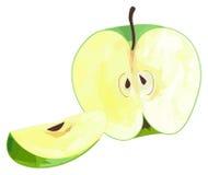 Giardino delizioso - metà della mela verde e della sua fetta con polyg Fotografie Stock