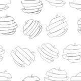 Giardino delizioso - modello senza cuciture di molte mele affettate Fotografia Stock