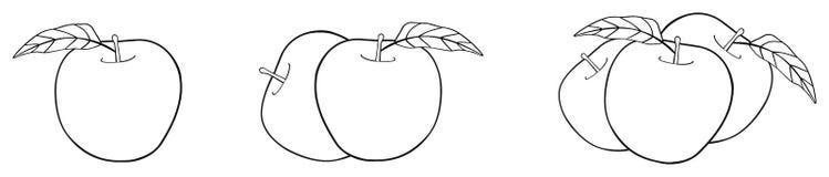 Giardino delizioso - una, due e tre mele con le foglie Fotografie Stock