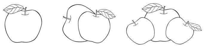 Giardino delizioso - una, due e tre mele elaborate con il le Immagine Stock Libera da Diritti