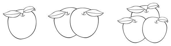 Giardino delizioso - una, due e tre mele piacevoli con le foglie Fotografia Stock Libera da Diritti