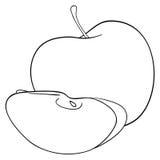 Giardino delizioso - una mela con una fetta Fotografie Stock Libere da Diritti