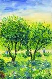 giardino dell'Apple-albero con i fiori in un prato ed in una coppia amorosa royalty illustrazione gratis