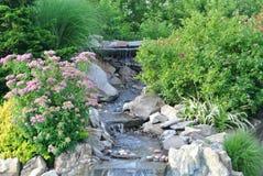 Giardino della cascata circondato dalle belle piantagioni e rocce Fotografia Stock Libera da Diritti
