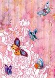 Giardino della peonia con le farfalle Fotografia Stock Libera da Diritti