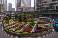 Giardino della rotonda al quadrato di scambio su Hong Kong Island, Cina fotografia stock libera da diritti