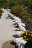 Giardino di estate con le rane di pietra Fotografie Stock