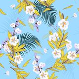 Giardino di estate nel modello floreale luminoso nei molti genere di flo royalty illustrazione gratis