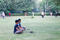 Giardino di legge di yoga di mattina - India Immagini Stock Libere da Diritti