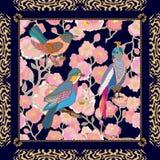 Giardino di paradiso Modello di seta della sciarpa con i fiori, le foglie e gli uccelli di fantasia Immagine Stock Libera da Diritti