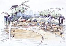 Giardino di rocce architettonico del disegno Fotografie Stock