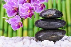Giardino di zen con le pietre impilate Fotografie Stock Libere da Diritti