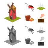 Giardino, diagramma, ecologia e l'altra icona di web nel fumetto, stile monocromatico Bevanda, liquido, icone dell'azienda agrico Immagine Stock Libera da Diritti