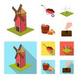 Giardino, diagramma, ecologia e l'altra icona di web nel fumetto, stile piano Bevanda, liquido, icone dell'azienda agricola nella Fotografie Stock