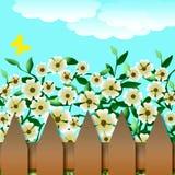 Giardino e rete fissa di fiore illustrazione di stock