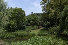 Giardino fertile e una pagoda immagine stock libera da diritti