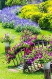 Giardino floreale domestico accogliente di idea e di concetto su estate fotografia stock