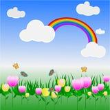 giardino floreale variopinto con un arcobaleno nel cielo royalty illustrazione gratis