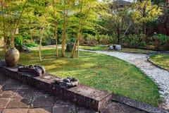 Giardino giapponese al tempio di Kofukuji in Nagsaki Fotografie Stock