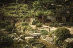 Giardino giapponese al tramonto Immagine Stock Libera da Diritti
