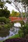 Giardino giapponese con i ponti e gli specchi del fiume Immagini Stock Libere da Diritti