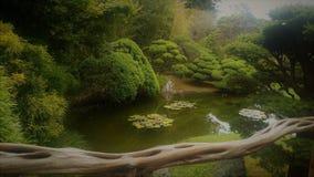 Giardino giapponese con uno stagno Immagine Stock Libera da Diritti