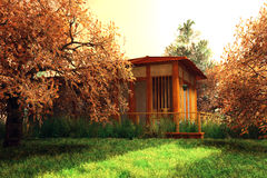 Giardino giapponese e una casa Royalty Illustrazione gratis