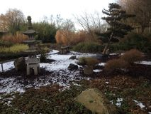 Giardino giapponese nell'orario invernale Fotografie Stock