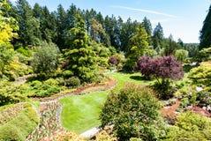 Giardino incavato famoso ai giardini di Butchart Immagine Stock Libera da Diritti