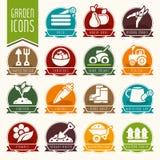 Giardino - insieme dell'icona dell'azienda agricola Fotografia Stock