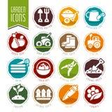 Giardino - insieme dell'icona dell'azienda agricola Fotografie Stock Libere da Diritti