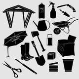 Giardino Logo Vector Illustration Siluetta degli oggetti da giardino isolata su Grey Background Oggetto di vettore per le etichet Immagine Stock Libera da Diritti