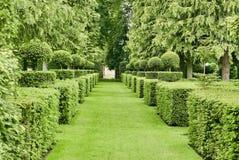 Giardino Manicured al d'Eyrignac della proprietà terriera fotografie stock libere da diritti