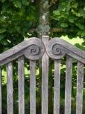 Giardino: particolare del banco di legno Immagini Stock Libere da Diritti