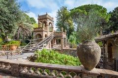 Giardino pubblico antico della villa Comunale in Taormina, Sicilia fotografia stock libera da diritti