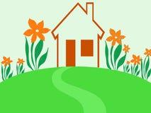 Giardino rosso della casa illustrazione di stock