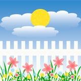 Giardino soleggiato della sorgente illustrazione di stock