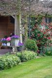 Giardino stile country rurale della molla con i fiori variopinti, cutted fotografia stock libera da diritti