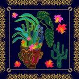 Giardino succulente Stampa del tessuto ispirata dai motivi aborigeni di arte Immagine Stock