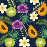 Giardino tropicale con il kiwi e la papaia Fotografia Stock Libera da Diritti