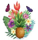 Giardino tropicale con l'ananas Immagine Stock Libera da Diritti