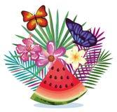 Giardino tropicale con l'anguria Fotografia Stock