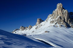 Giau Pass Dolomite. View of the Giau pass at the Dolomite Alps (Italy) with the shelter stock photos