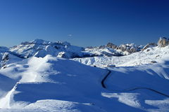 Giau Pass Dolomite. View of the Giau pass at the Dolomite Alps (Italy) with the shelter stock photo
