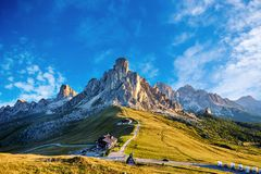 Giau Pass mountains at daylight royalty free stock images