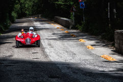GIAUR 750 1950. PESARO, ITALY - MAY 15: old racing car in rally Mille Miglia 2015 the famous italian historical race 1927-1957 on May 15 2015 royalty free stock image