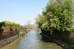 Giavera river, Villorba, Italy. Giavera river, it starts in Montello and finishes in Treviso city stock photos