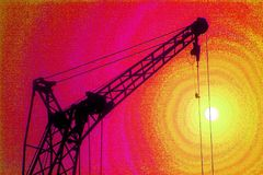 Gibbet and the sun. Jib of the lifting crane  (super saturation Stock Image