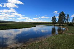 Gibbon River flowing through Gibbon Meadows in Yellowstone National Park in Wyoming USA Royalty Free Stock Image