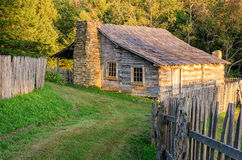 Gibbons Cabin, Cumberland Gap National Park. The old Lige Gibbons hewn log cabin in the Hensley Settlement area of the Cumberland Gap National Park Royalty Free Stock Photo